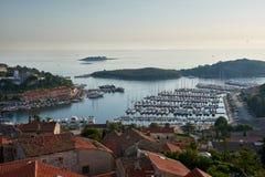 对Vrsar口岸从上面- Istria,克罗地亚的看法 库存图片