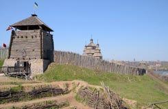 对Zaporizhian哥萨克人博物馆,霍尔蒂恰岛,乌克兰的全视图 免版税库存图片