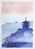寺庙、森林和黎明 免版税库存照片