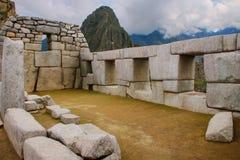 寺庙三Windows在马丘比丘在秘鲁 免版税库存照片