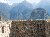 寺庙三Windows在马丘比丘废墟, 免版税库存图片