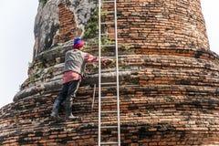 寺庙区域的工作者在阿尤特拉利夫雷斯 库存照片