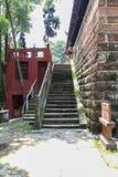 寺庙在夹江一千菩萨峭壁,四川,瓷 免版税库存照片