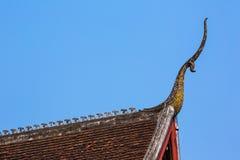 寺庙屋顶建筑学-琅勃拉邦,老挝 库存图片