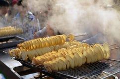 寺庙市场的快餐 图库摄影