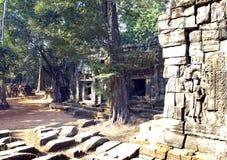 寺庙废墟在吴哥窟暹粒,柬埔寨, 12世纪 图库摄影