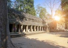 寺庙废墟在吴哥窟暹粒,柬埔寨, 12世纪 免版税库存照片