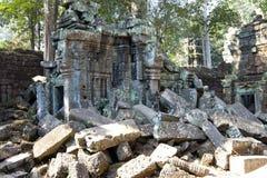 寺庙废墟在吴哥窟暹粒,柬埔寨, 12世纪 免版税库存图片