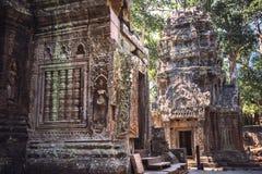 寺庙废墟在吴哥城,柬埔寨 图库摄影