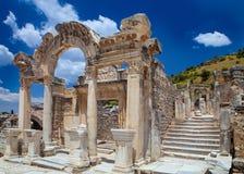 寺庙废墟在以弗所,土耳其 库存图片