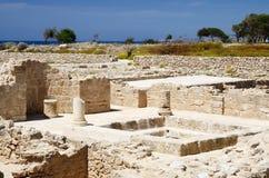 寺庙废墟,帕福斯,塞浦路斯国王,考古学公园坟茔  免版税库存图片