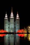 寺庙有圣诞灯的方形的盐湖城犹他 库存照片