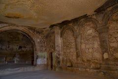 寺庙的内部 里面圣约翰教会浸礼会教友,Cavusin村庄,卡帕多细亚,内夫谢希尔省地区 免版税图库摄影