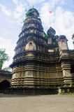 寺庙的看法, Mahuli Sangam,萨塔拉,马哈拉施特拉 库存照片