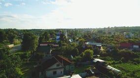 寺庙的鸟瞰图在俄国镇4k 股票录像