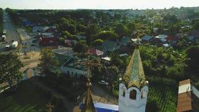 寺庙的鸟瞰图在俄国镇4k 影视素材