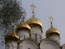 寺庙的`金黄`圆顶在俄国城市 库存照片
