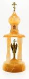 寺庙雕象由木头和金属制成 库存图片