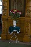 寺庙,东正教,蜡烛,法坛的内部的照片 库存图片