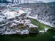 寺庙, patmos, altai,从空气的一个看法 免版税图库摄影