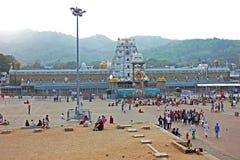 寺庙, Tirumala,安得拉邦,印度看法在日落的 库存照片