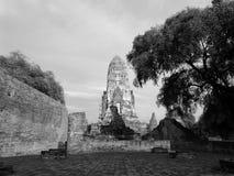 寺庙黑白照片 免版税库存图片