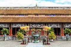 寺庙建筑学颜色古老城堡,越南 库存图片