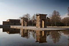 寺庙Debod,马德里,西班牙视图  免版税库存照片
