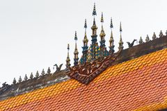 寺庙Wat Sensoukaram的屋顶在Louangphabang,老挝 特写镜头 库存图片