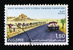 寻址El Golea到提米蒙,撒哈拉大沙漠发展serie,大约1969年 免版税库存照片