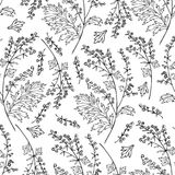 寻常无缝的花卉传染媒介样式的艾属,在白色隔绝的蒿木共同的手拉的墨水剪影例证 图库摄影
