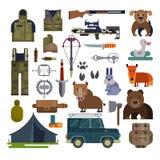 寻找传染媒介狩猎弹药或猎人设备步枪射击和背包在野营与动物低头熊,公猪 库存图片
