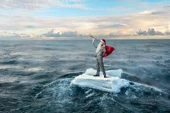 寻找方式的圣诞老人 混合画法 免版税库存图片