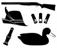 寻找集合传染媒介 鸭子狩猎 猎枪,鸭子电话,诱饵,帽子,壳 向量例证