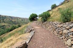 导致古老犹太市的废墟的道路罗马帝国的军队戈兰高地的Gamla毁坏的  免版税库存图片