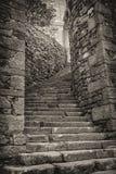 导致城堡的老楼梯 免版税库存照片
