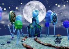导致姜房子一条甜道路的黑暗的童话场面 库存照片