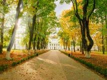 导致宫殿的胡同在秋天公园 库存图片