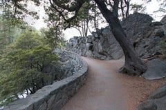 导致春天秋天的薄雾足迹在优胜美地国家公园在加利福尼亚美国 免版税库存照片