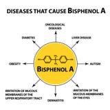 导致Bisphenol A的疾病 化学式 Infographics 在被隔绝的背景的传染媒介例证 免版税库存图片