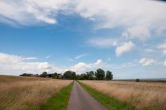 导致Naesby村庄的路在Oroe的在丹麦 库存照片