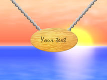 导航一个木标志的例证与链子的 免版税图库摄影