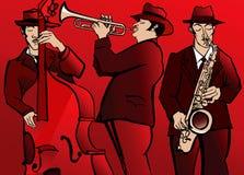 与低音萨克管和喇叭的爵士乐队 免版税库存图片