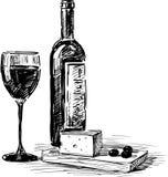 葡萄酒和乳酪 库存照片