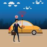 导航一个聪明的汽车概念的例证,半新声音为开锁 向量例证