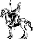 导航一个装甲的骑士的剪贴美术例证一匹可怕黑马的与充电或马背射击与长矛的红色眼睛 皇族释放例证
