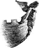 古老有船嘴装饰的雕塑 图库摄影