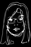导航一个年轻美丽的白肤金发的女孩的剪影戴眼镜的 免版税库存图片