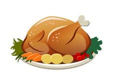 导航一只烤火鸡的例证在一个盛肉盘的用土豆 图库摄影