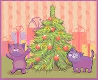导航一只猫的例证在圣诞树的 免版税库存照片